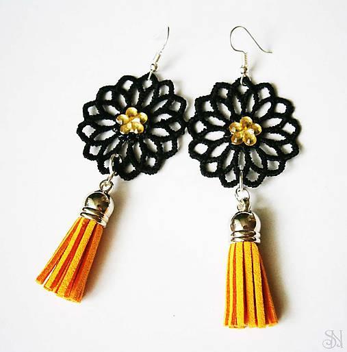 Čierno-žlté čipkované elegantné náušnice so strapcami   Salina1 ... 652ab25790b