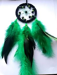 Dekorácie - Lapač snov  zeleno - čierny - 10210708_