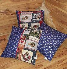 Úžitkový textil - Vianočné vankúše modré set 3ks - 10209690_