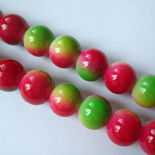 Sklenené maľované-1ks (10mm-zelená/červená)