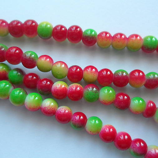 Sklenené maľované-1ks (6mm-zelená/červená)