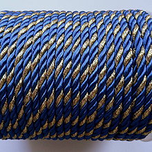 Galantéria - Šnúra točená 4mm-1m (tm.modrá/zlatá) - 10211739_