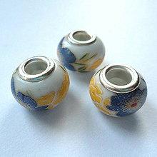 Korálky - Pandora keramic 10x13mm-1ks (žltá/tm.modrá) - 10211953_