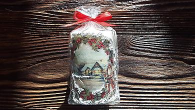 Svietidlá a sviečky - AKCIA - Vonné vianočné sviečky dekorované 3D snehom - 10209527_