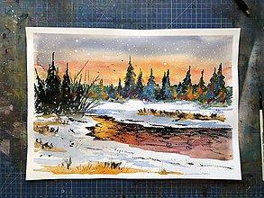 Obrazy - Zima sneh a západ slnka - obraz - 10209469_