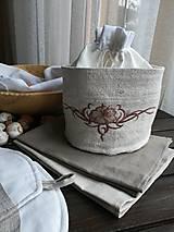 Úžitkový textil - Darčeková sada - Ľanový košík + ľanové utierky - 10210458_
