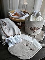 Úžitkový textil - Darčeková sada - Ľanový košík + ľanové utierky - 10210461_