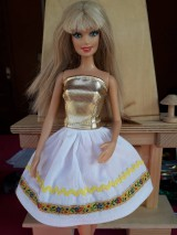 Hračky - Folk sukňa žltá pre Barbie - 10212400_