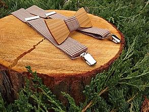 Doplnky - Pánsky drevený motýlik a traky - 10211344_