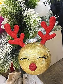 Dekorácie - Vianočná guľa sobík 10cm-plast - 10212250_