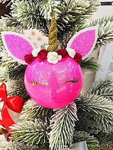 Dekorácie - Vianočná guľa jednorožec 10cm-plast - 10212260_