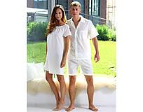 Pyžamy a župany - Lilly - nočná košeľa, bio bavlna, biela - 10212086_