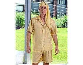 Pyžamy a župany - Lotus - pánska košeľa s krátkym rukávom a šortkami, zlatá, hodváb - 10212146_