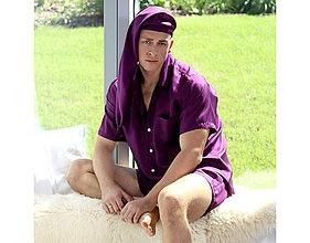 Pyžamy a župany - Lotus - pánska košeľa s krátkymi rukávmi a šortkami, hodváb - 10212173_