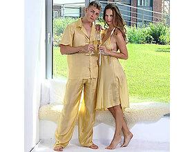 Pyžamy a župany - Lotus - pánska košeľa s krátkym rukávom a dlhými nohavicami, zlatá, hodváb - 10212299_