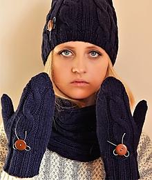 Čiapky - čiapky, nákrčník, rukavice s gombíkmi  (komplet set) - 10210152_