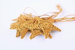 Dekorácie - Bavlnené hviezdičky (zlato-žlté) - 10210497_