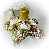Dekorácie - Vianočný svietnik  -  Svícen hvězdička - Zlato-bíllá - 10208676_