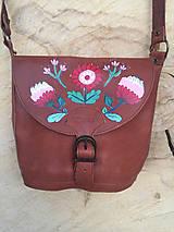 Kožená kabelka- FOLKkvety