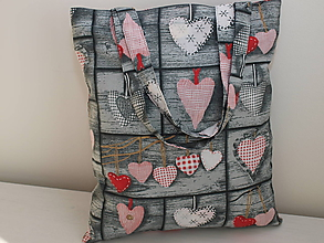Nákupné tašky - ...srdiečkový patchwork... - 10210746_