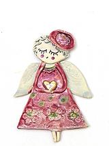 Dekorácie - anjel ružový na zavesenie - 10209529_