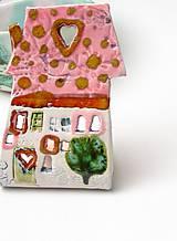 Svietidlá a sviečky - svietnik dom ružovo farebný - 10209631_