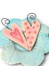 Dekorácie - srdiečko ružové na zavesenie - 10209680_