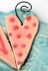 Dekorácie - srdiečko ružové na zavesenie - 10209698_
