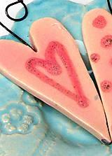 Dekorácie - srdiečko ružové na zavesenie - 10209705_
