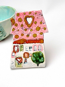 Svietidlá a sviečky - svietnik dom ružovo farebný - 10209627_