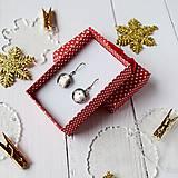 Náušnice - Ružovo-strieborné vianoce - visiace náušnice - 10208622_