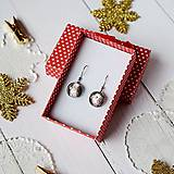 Náušnice - Ružovo-strieborné vianoce - visiace náušnice - 10208623_