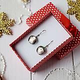 Náušnice - Ružovo-strieborné vianoce - visiace náušnice - 10208626_