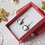 Náušnice - Ružovo-strieborné vianoce - visiace náušnice - 10208627_
