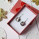 Náušnice - Ružovo-strieborné vianoce - visiace náušnice - 10211813_