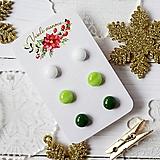 Náušnice - Náušičky ombre - sklenené napichovačky (Zelená) - 10212174_