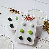Náušnice - Náušičky ombre - sklenené napichovačky (Zelená) - 10212176_