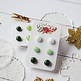 Náušnice - Náušičky ombre - sklenené napichovačky (Zelená) - 10212180_
