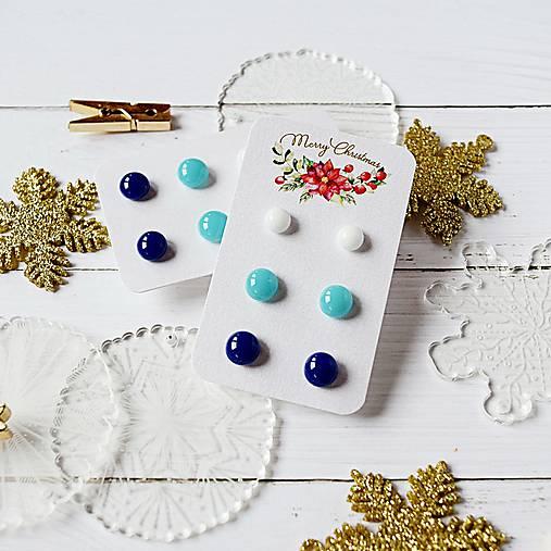 Náušičky ombre - sklenené napichovačky (Modrá)