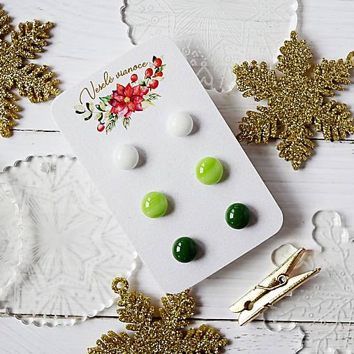 Náušičky ombre - sklenené napichovačky (Zelená)