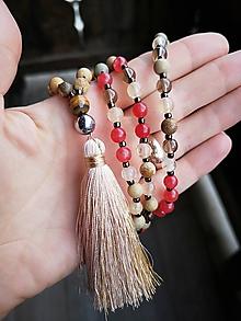 Náhrdelníky - Japa Mala náhrdelník z minerálov jadeit, jaspis, záhneda, kremeň - 10209101_