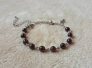 Náramky - Ruženček na ruku granát - CHIRURGICKÁ OCEĽ - 10211598_