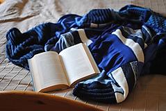 Úžitkový textil - Modrá minky deka - 10211046_