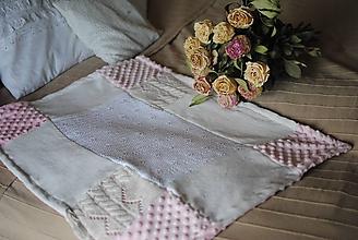 Textil - Ružová minky deka - 10209173_