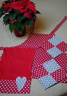 Iné oblečenie - Červená bodkovaná kuchynská súprava - 10210320_