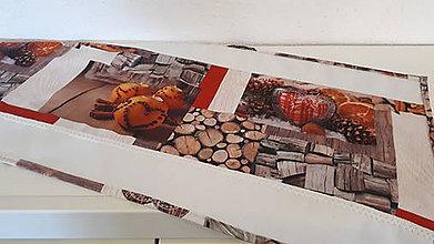 Úžitkový textil - Stredový Vianočný obrus  (pomaranče,škorica,medovníky,drevo s lemom) - 10215768_
