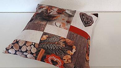 Úžitkový textil - Obliečka na vankuš  (pomaranče,škorica,drevo,medovníky) - 10215912_