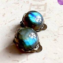 Náušnice - Labradorite Bronze Clip On Earrings / Náušnice klipsne s labradoritom /1284 - 10213049_