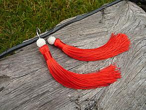 Náušnice - Náušnice Strapcové červeno-biele - 10214971_