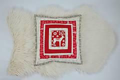 Úžitkový textil - Návliečka na vankúš scandi jelenia hlava - 10212707_